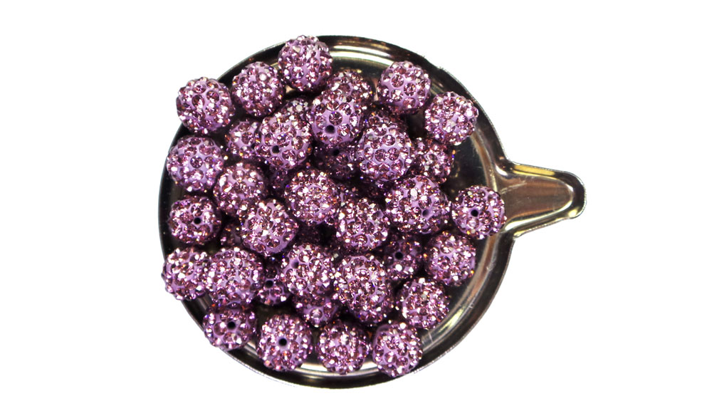Perles style Shamballa Violet Lavender 10mm