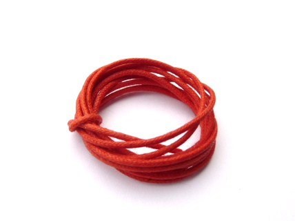 0.16 € Cordon Coton Ciré Rouge  Ø 2 mm