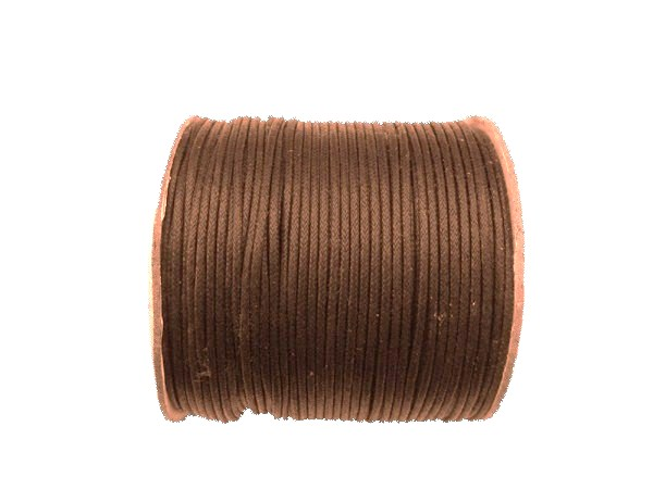 Cordon Coton Ciré Marron 100 metres Ø 2 mm