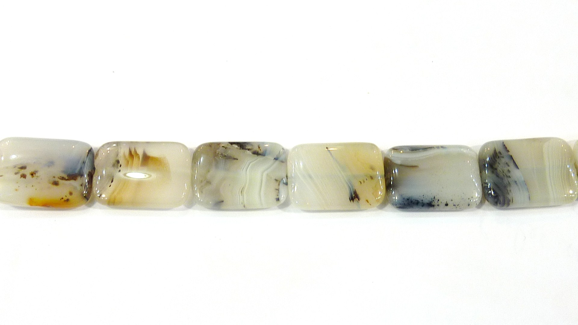 PG12 Fil de perle rectangle agate clair rectangle émoussé