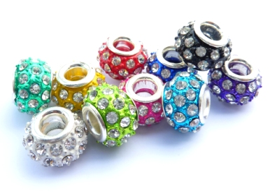 PMCH58L Lot de 5 Perles metal mixte couleurs strass diamond